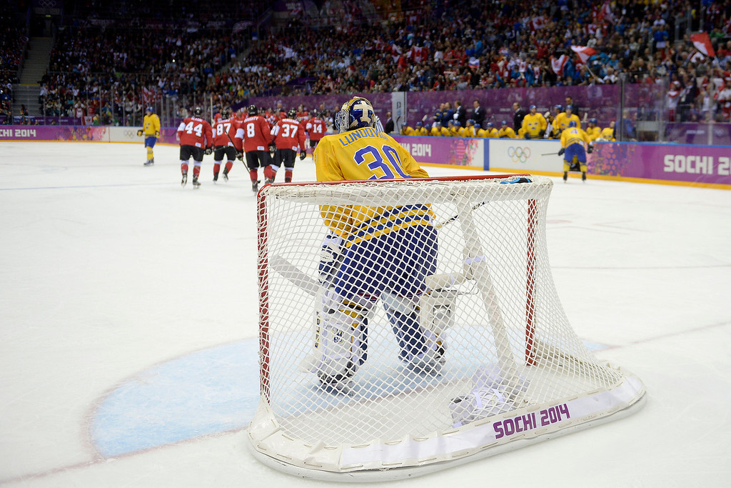 . Henrik Lundqvist (30) of Sweden reacts to a Chris Kunitz (14) of Canada  3-0 goal during the third period of Canada\'s 3-0 win in the men\'s ice hockey gold medal game against Sweden. Sochi 2014 Winter Olympics on Sunday, February 23, 2014 at Bolshoy Ice Arena. (Photo by AAron Ontiveroz/ The Denver Post)