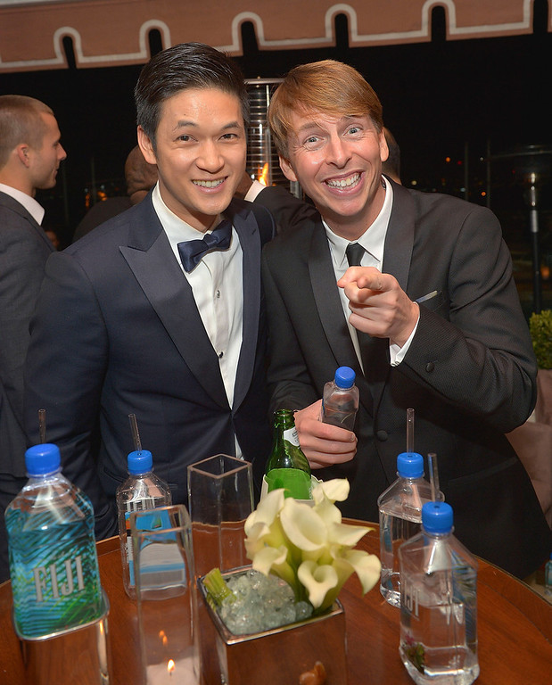 . Actors Harry Shum Jr. (L) and Jack McBrayer attend The Weinstein Company\'s SAG Awards After Party Presented By FIJI Water at Sunset Tower on January 27, 2013 in West Hollywood, California.  (Photo by Charley Gallay/Getty Images for TWC)