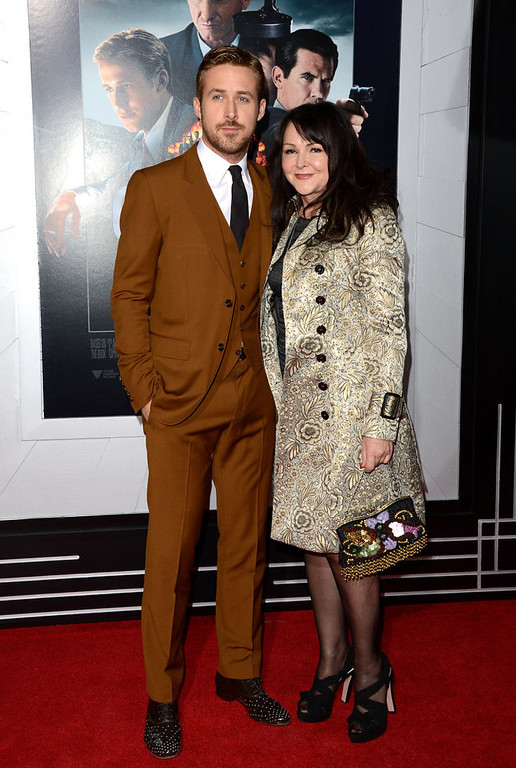 """. Actor Ryan Gosling and Donna Gosling arrive at Warner Bros. Pictures\' \""""Gangster Squad\"""" premiere at Grauman\'s Chinese Theatre on January 7, 2013 in Hollywood, California.  (Photo by Jason Merritt/Getty Images)"""