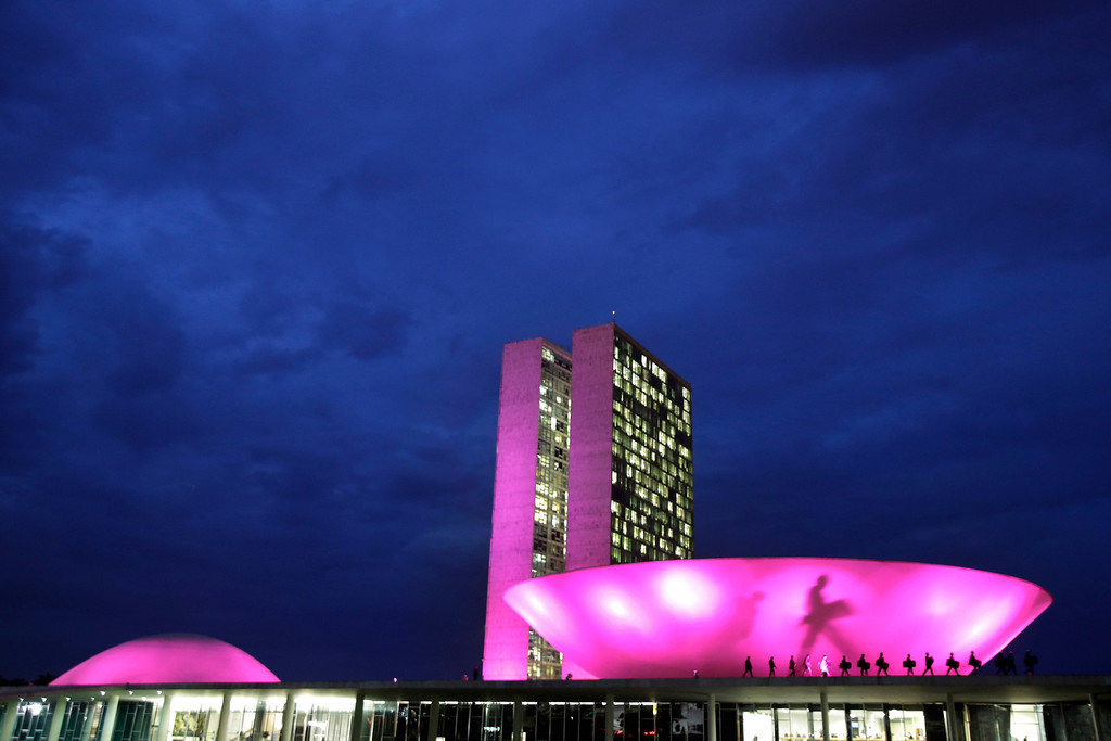 . In this Wednesday, Oct. 2, 2013 photo, Congress is illuminated in pink in honor of Breast Cancer Awareness month in Brasilia, Brazil. The shadow on the building is from a soldier patrolling outside the lower house. (AP Photo/Eraldo Peres)