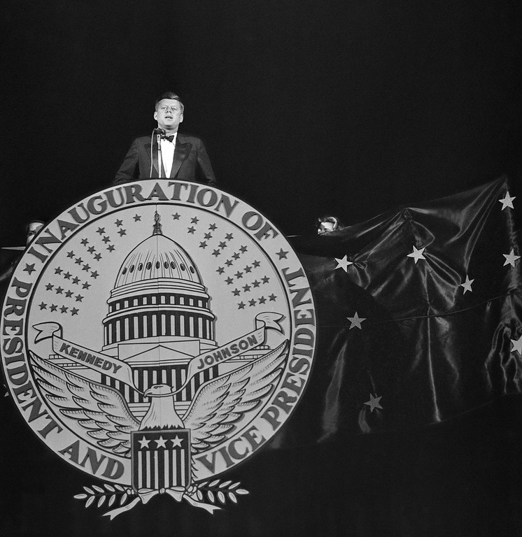 . The president-elect addresses those attending the inaugural gala performance on the eve of his inauguration in Washington on Jan. 19, 1961. A snowstorm that swept the city and paralyzed traffic cut down on the anticipated attendance. Hans Von Nolde, Associated Press file