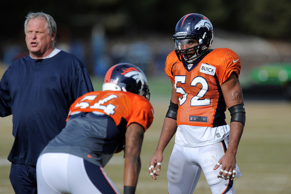 . Denver Broncos Wesley Woodyard (52) looks on during drills at practice December 18, 2013 at Dove Valley (Photo by John Leyba/The Denver Post)