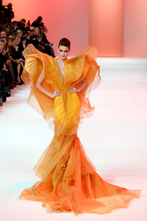. A model wears a creation for Stephane Rolland\'s Spring-Summer 2014 Haute Couture fashion collection presented in Paris, Tuesday, Jan.21, 2014. (AP Photo/Jacques Brinon)