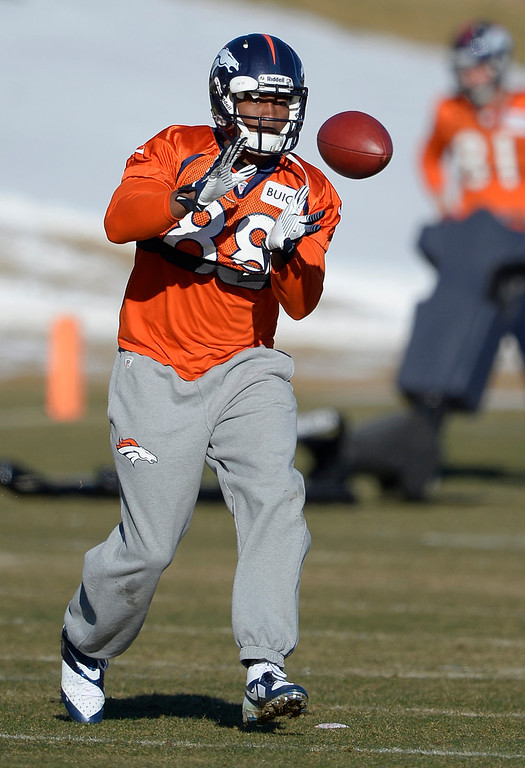 . Denver Broncos wide receiver Demaryius Thomas (88) catches a pass during practice January 2, 2014 at Dove Valley (Photo by John Leyba/The Denver Post)