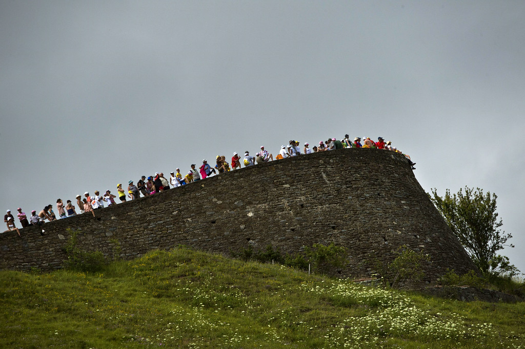 . Supporters are pictured during the 124.5 km seventeenth stage of the 101st edition of the Tour de France cycling race on July 23, 2014 between Saint-Gaudens and Saint-Lary Pla d\'Adet, southwestern France.  AFP PHOTO / LIONEL BONAVENTURE/AFP/Getty Images
