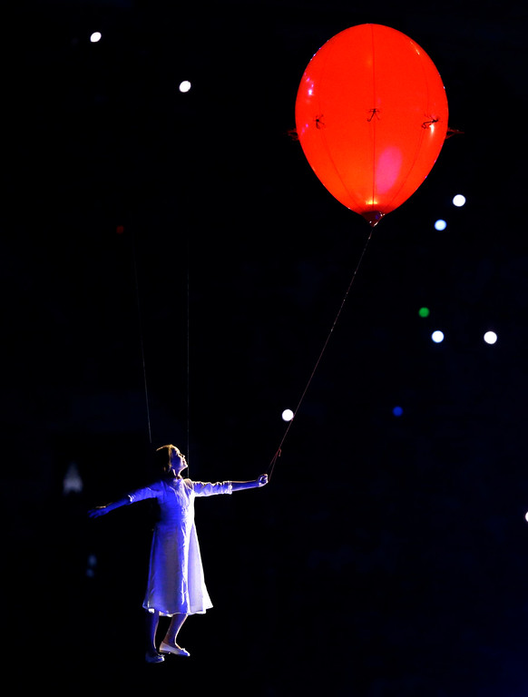 . An artist performs during the opening ceremony of the 2014 Winter Olympics in Sochi, Russia, Friday, Feb. 7, 2014. (AP Photo/Patrick Semansky)