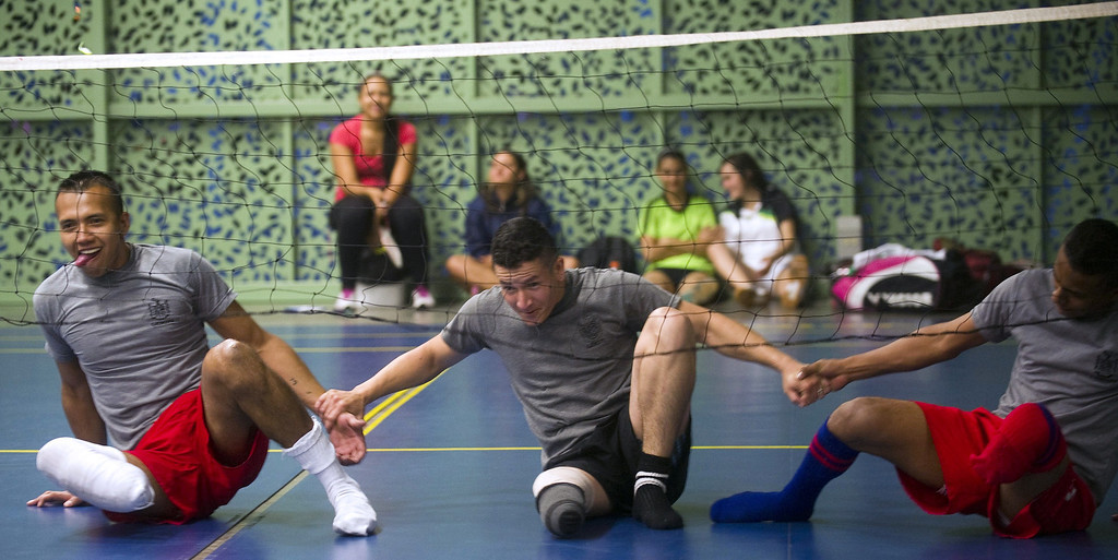 . Colombian soldiers victims get ready for a volleyball game during their rehabilitation therapy session.  RAUL ARBOLEDA/AFP/Getty Images