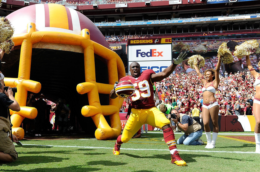 . London Fletcher #59 of the Washington Redskins is introduced before the game against the Detroit Lions at FedExField on September 22, 2013 in Landover, Maryland.  (Photo by Greg Fiume/Getty Images)