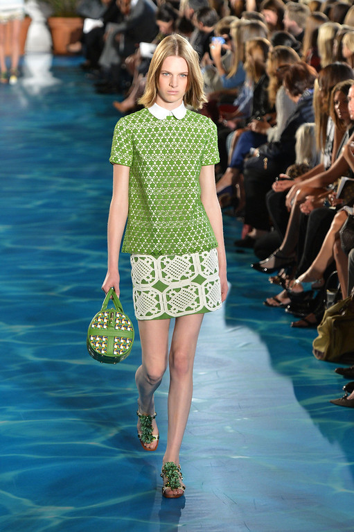 . A model walks the runway at the Tory Burch fashion show during Mercedes-Benz Fashion Week Spring 2014 at David H. Koch Theater at Lincoln Center on September 10, 2013 in New York City.  (Photo by Slaven Vlasic/Getty Images for Mercedes-Benz Fashion Week Spring 2014)
