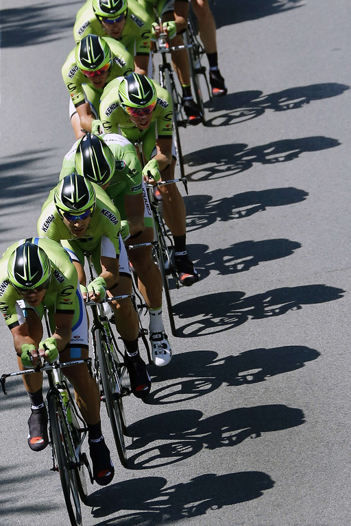 . Riders of Cannondale team compete during the 25 km team time-trial and fourth stage of the 100th edition of the Tour de France cycling race on July 2, 2013 around Nice, southeastern France.     JOEL SAGET/AFP/Getty Images