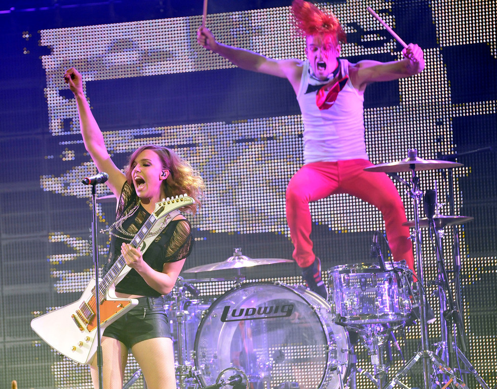 . Lzzy Hale, left, and Arejay Hale of the band Halestorm perform at the 2013 Revolver Golden Gods Award Show at Club Nokia on Thursday, May 2, 2013 in Los Angeles. (Photo by Chris Pizzello/Invision/AP)