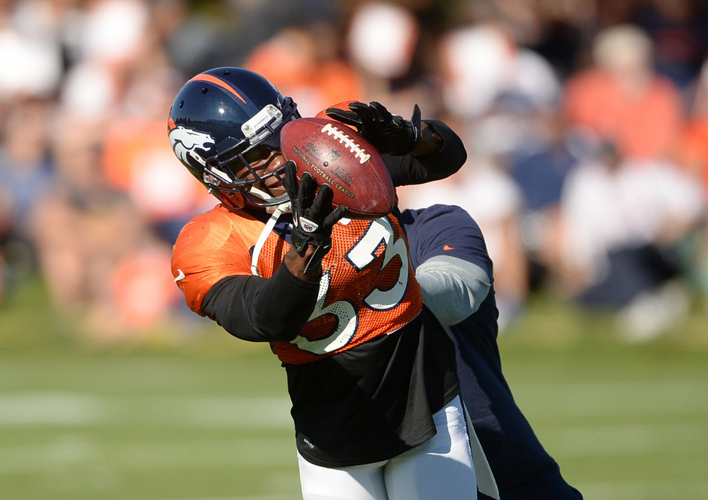 . CENTENNIAL, CO. - August 10: Duke Ihenacho of the Denver Broncos safety (33) runs a pass defense drill during the training camp at Dove Valley. Centennial, Colorado. August 10, 2013. (Photo By Hyoung Chang/The Denver Post)