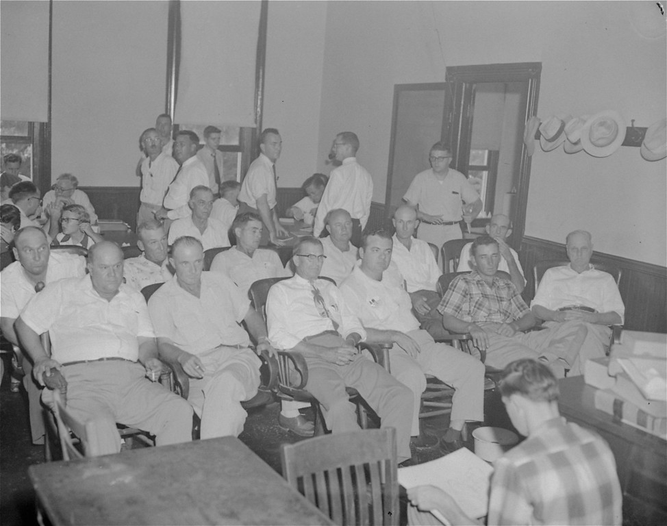. These 12 men were seated September 20, 1955 in the jury box to hear testimony and decide the fate of Roy Bryant and J.W. Milam, who are charged with slaying Emmett Louis Till.  Left to right, in front row, are Gus Ramsey, James Toole, E.L. Price, J.A. Shaw, Jr., Ray Tribble, and Ed Devaney.  Back row, Travis Thomas, George Holland, Jim Pennington, Davis Newton, Howard Armstrong, and Bishop Matthews.   (AP Photo/stf)