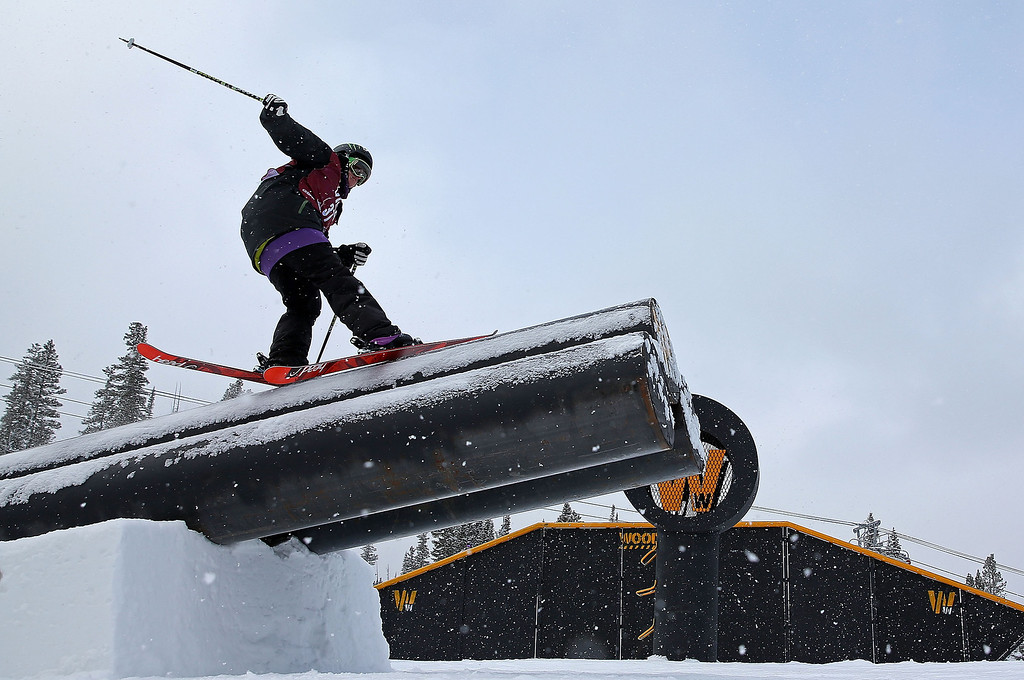 . Keri Herman competes during qualifying for the women\'s FIS Ski Slopestyle World Cup at U.S. Snowboarding and Freeskiing Grand Prix on December 20, 2013 in Copper Mountain, Colorado.  (Photo by Mike Ehrmann/Getty Images)