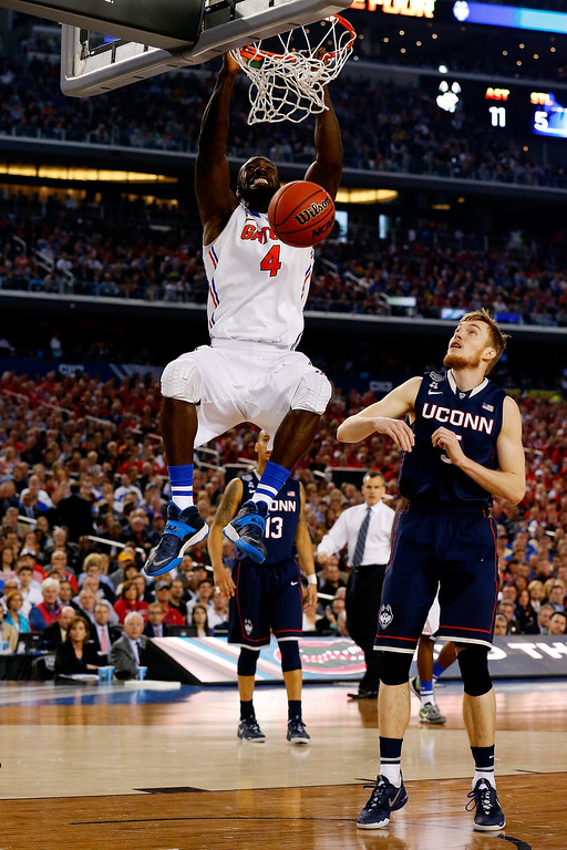 . ARLINGTON, TX - APRIL 05:  Patric Young #4 of the Florida Gators dunks against the Connecticut Huskies during the NCAA Men\'s Final Four Semifinal at AT&T Stadium on April 5, 2014 in Arlington, Texas.  (Photo by Tom Pennington/Getty Images)