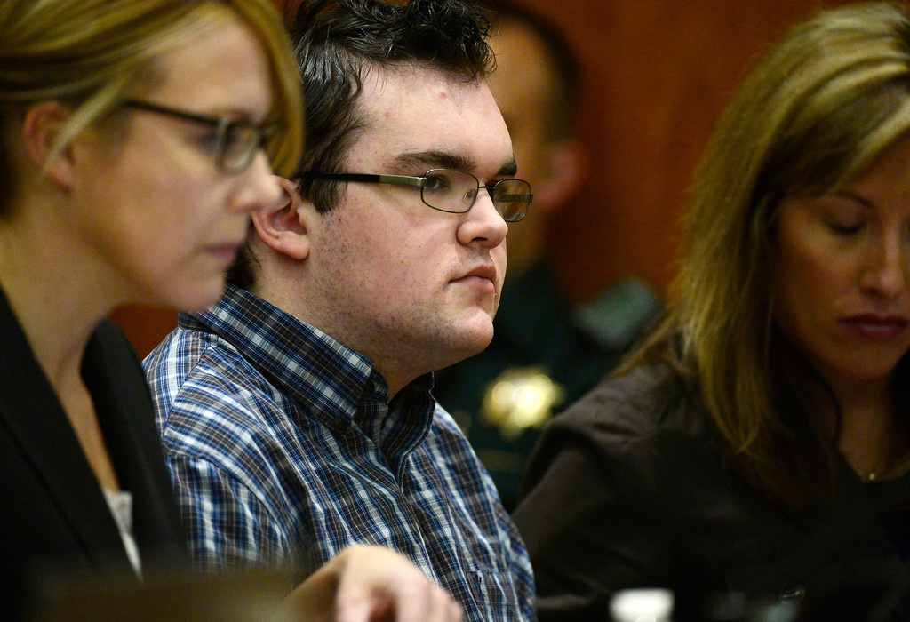 . Austin Sigg, center, appears in Jefferson County Court, in Golden, Colo., Monday, Nov. 18, 2013 for a sentencing hearing. Sigg, who has pleaded guilty to the kidnapping and murder of 10-year-old Jessica Ridgeway in October 2012, faces a possible life prison term.  (Photo by RJ Sangosti/The Denver Post)