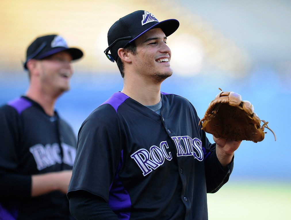 . Nolan James Arenado of the Colorado Rockies warms up before a game against the Los Angeles Dodgers on May 1, 2013.    (John McCoy/LA Daily News)