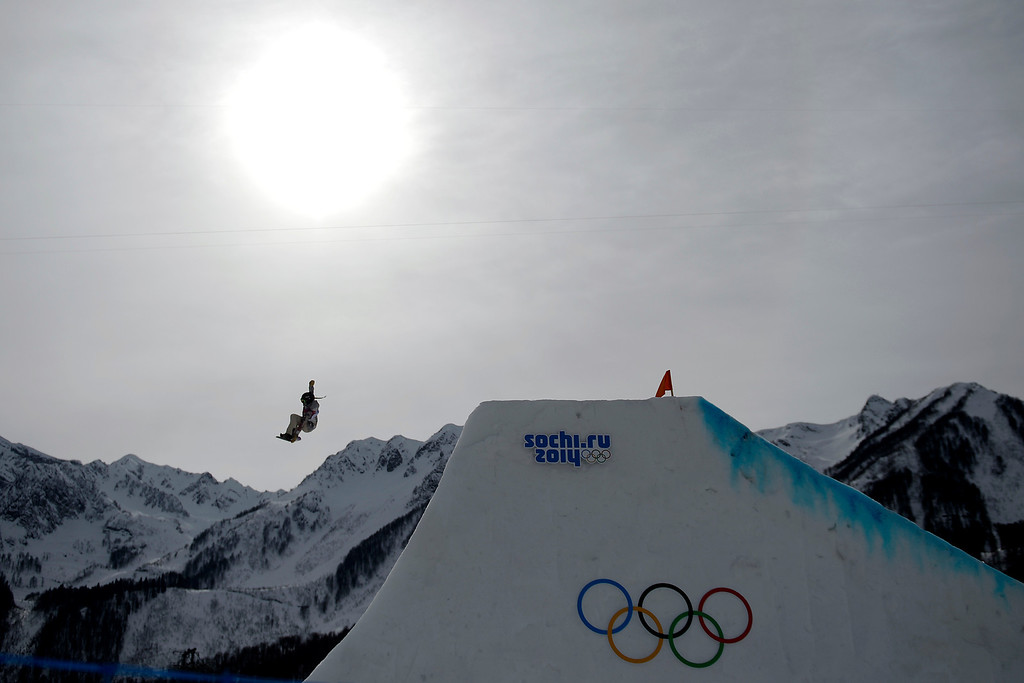 . ROSA KHUTOR, RUSSIA - FEBRUARY 09: Karly Shore, of the United States, makes her final jump en route to a sixth-place finish during the women\'s snowboard slopestyle final. Sochi 2014 Winter Olympics at the Rosa Khutor Etreme Park on Sunday, February 9, 2014. (Photo by AAron Ontiveroz/The Denver Post)