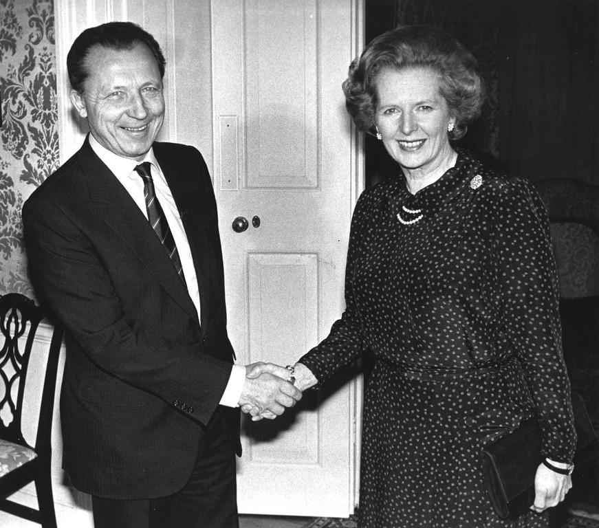 . Margaret Hilda Thatcher, nee Roberts greets President Elect of the European Communities, Jacques Delors, a French Politician, at Downing Street in London.   (Photo by Keystone/Getty Images)