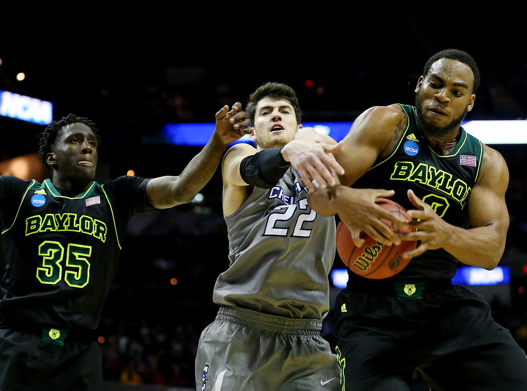 . Rico Gathers #2 of the Baylor Bears pulls down a rebound against Avery Dingman #22 of the Creighton Bluejays during the third round of the 2014 NCAA Men\'s Basketball Tournament at the AT&T Center on March 23, 2014 in San Antonio, Texas.  (Photo by Ronald Martinez/Getty Images)