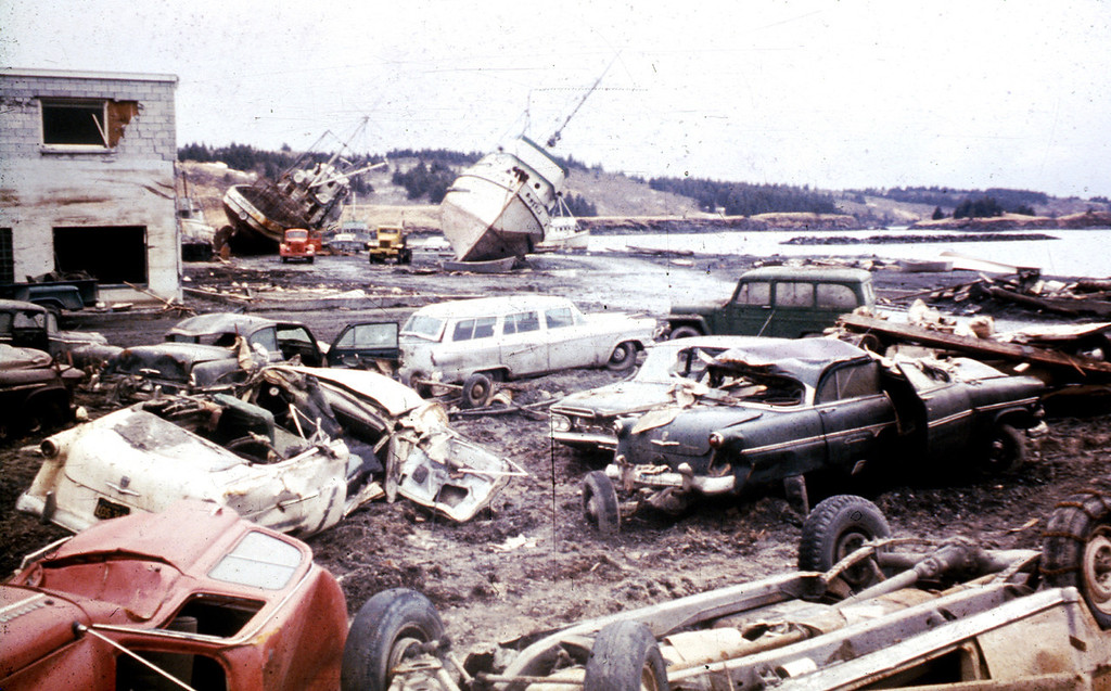 . In this March 1964 photo released by the U.S. Geological Survey, tsunami damage is shown along the waterfront in Kodiak, Alaska. North America\'s largest earthquake rattled Alaska 50 years ago, killing 15 people and creating a tsunami that killed 124 more from Alaska to California. The magnitude 9.2 quake hit at 5:30 p.m. on Good Friday, turning soil beneath parts of Anchorage into jelly and collapsing buildings that were not engineered to withstand the force of colliding continental plates. (AP Photo/U.S. Geological Survey)