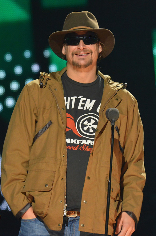 . Kid Rock speaks onstage during the 2012 CMT Artists Of The Year at The Factory at Franklin on December 3, 2012 in Franklin, Tennessee.  (Photo by Rick Diamond/Getty Images for CMT)