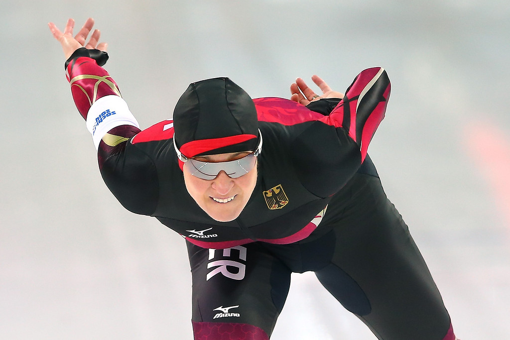 . Claudia Pechstein of Germany competes during the Women\'s 3000m Speed Skating event during day 2 of the Sochi 2014 Winter Olympics at Adler Arena Skating Center on February 9, 2014 in Sochi, Russia.  (Photo by Streeter Lecka/Getty Images)