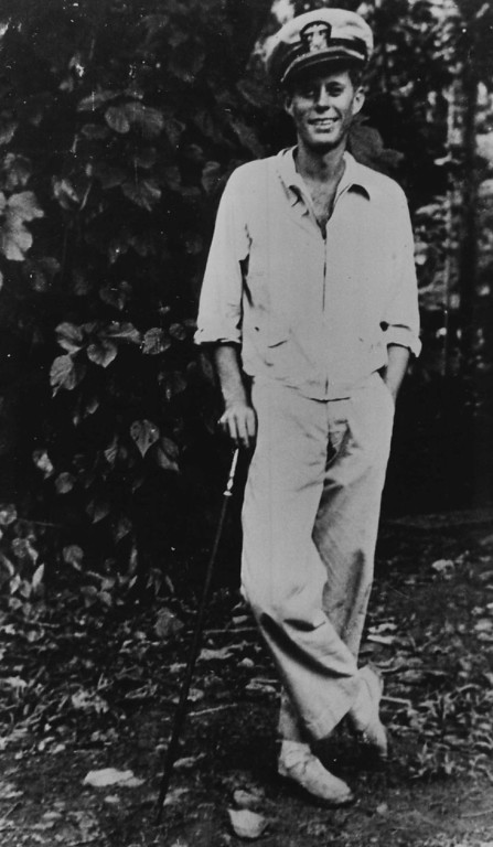 . Lt. Kennedy, pictured  in the Solomon Islands, served on PT 109 in World War II.  Denver Post file