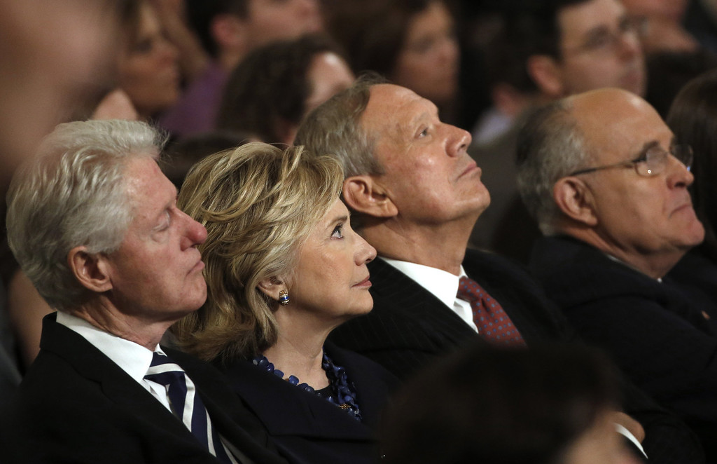 . (L-R) Former U.S. president Bill Clinton (L), former U.S. Secretary of State Hillary Clinton, former New York Governor George Pataki and former New York City Mayor Rudy Giuliani attend the opening ceremony for the National September 11 Memorial Museum at ground zero May 15, 2014 in New York City.   (Photo by Mike Segar-Pool/Getty Images)