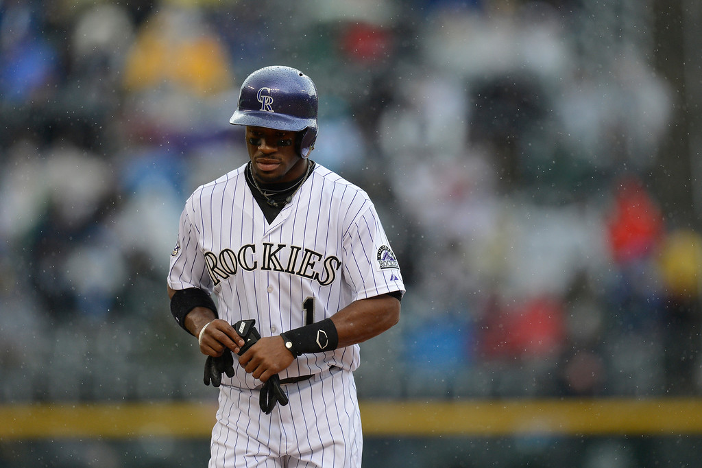 . Eric Young Jr. (1) of the Colorado Rockies walks back to the dugout after getting forced at second base during the first inning against the New York Yankees May 9, 2013 at Coors Field. (Photo By John Leyba/The Denver Post)