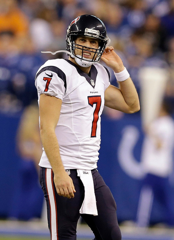 . Houston Texans quarterback Case Keenum walks off the field during the second half of an NFL football game against the Indianapolis Colts in Indianapolis, Sunday, Dec. 15, 2013. (AP Photo/Darron Cummings)