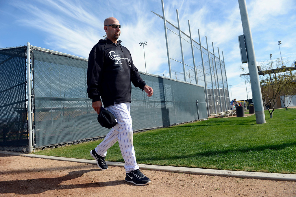 . SCOTTSDALE, AZ. - FEBRUARY 19: Colorado Rockies Manager Walt Weiss heads to the field to watch batting practice during Spring Training February 19, 2013 in Scottsdale. (Photo By John Leyba/The Denver Post)