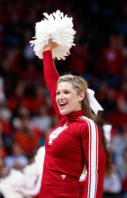 . An Indiana Hoosiers cheerleader performs on the court in the second half against the Temple Owls during the third round of the 2013 NCAA Men\'s Basketball Tournament at UD Arena on March 24, 2013 in Dayton, Ohio.  (Photo by Joe Robbins/Getty Images)
