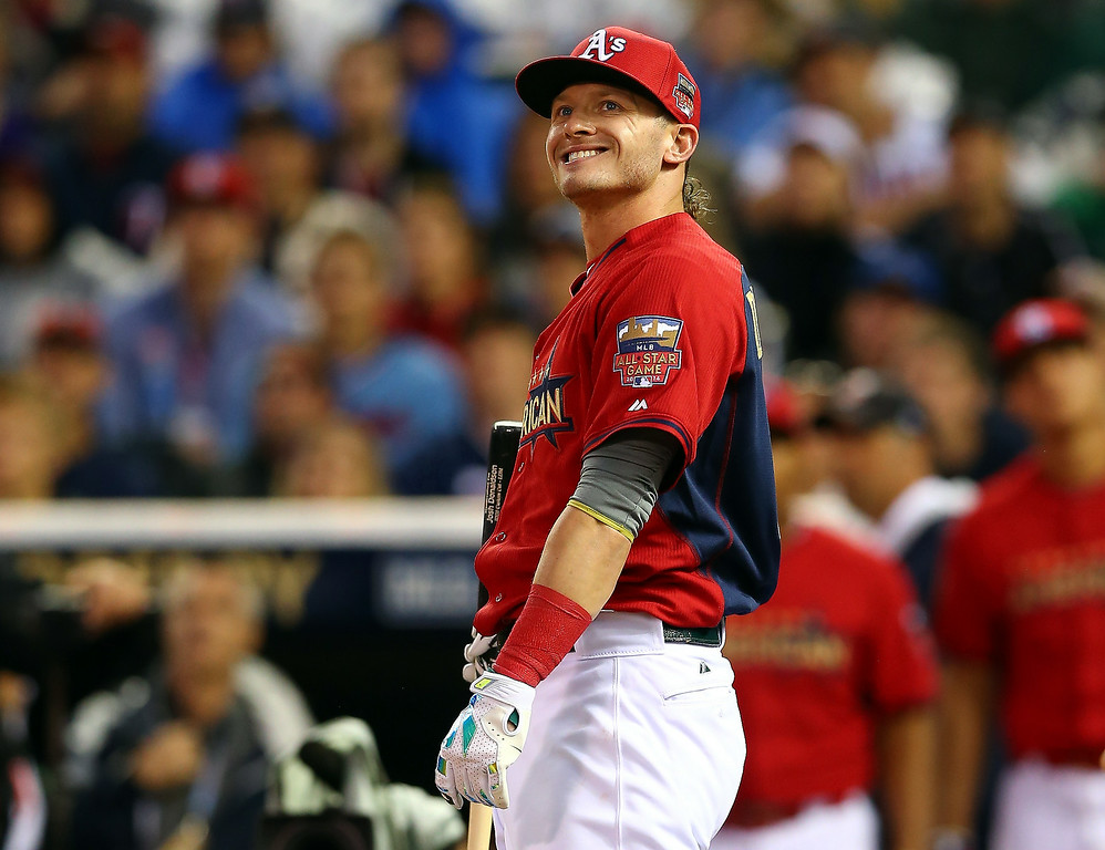. American League All-Star Josh Donaldson #20 of the Oakland A\'s bats during the Gillette Home Run Derby at Target Field on July 14, 2014 in Minneapolis, Minnesota.  (Photo by Elsa/Getty Images)