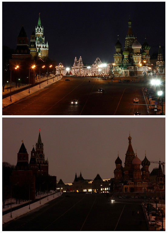 . A combination photo shows a view of St. Basil\'s Cathedral, Red Square and the Kremlin before (top) and during Earth Hour in Moscow March 23, 2013. Earth Hour, when everyone around the world is asked to turn off the lights for an hour from 8.30pm local time, is meant as a show of support for tougher actions to combat climate change.  REUTERS/Mikhail Voskresensky