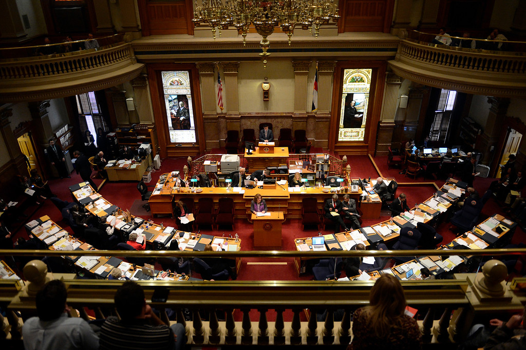 . DENVER, CO. - MARCH 08: Senator Evie Hudak leads a vote on an amendment to SB13-195 before the  Denver Senate at the state capitol March 08, 2013 Denver, Colorado. (Photo By Joe Amon/The Denver Post)