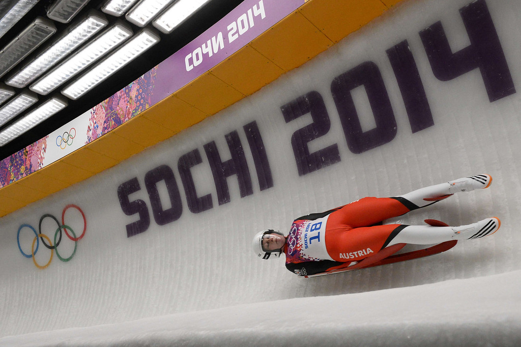 . Austria\'s Miriam Kastlunger competes during the Women\'s Luge Singles run two at the Sliding Center Sanki during the Sochi Winter Olympics on February 10, 2014.   AFP PHOTO / LIONEL BONAVENTURE/AFP/Getty Images