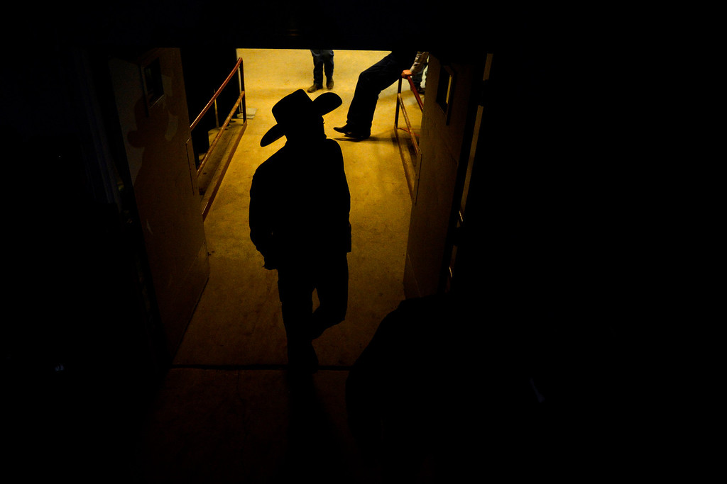 . DENVER, CO. - JANUARY 21:  Jamarcus Whiting walks in the cowboy ready area at the National Western Stock Show Martin Luther King Heritage Rodeo January 21, 2013 (Photo By AAron Ontiveroz / The Denver Post)
