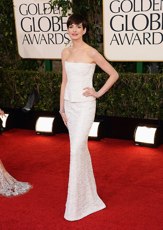 . Actress Anne Hathaway arrives at the 70th Annual Golden Globe Awards held at The Beverly Hilton Hotel on January 13, 2013 in Beverly Hills, California.  (Photo by Jason Merritt/Getty Images)