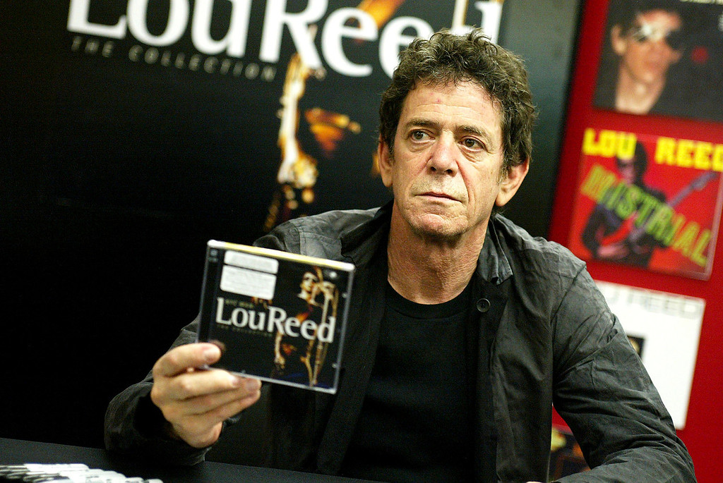 ". Singer Lou Reed poses at an autograph signing to promote his new CD ""NYC Man\"" at Tower Records on June 23, 2003 in West Hollywood, California. (Photo by Kevin Winter/Getty Images)"