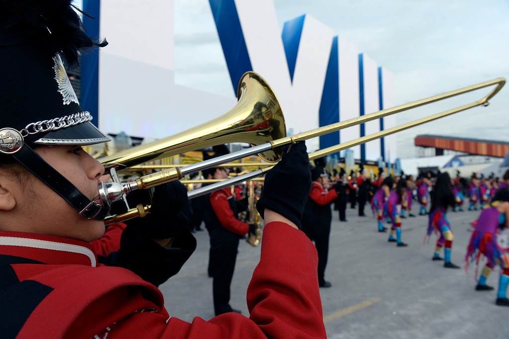 . EAST RUTHERFORD, NJ - FEBRUARY 2: Members of the New Jersey Elizabeth High School marching band entertain the crowd outside of the stadium prior to the game.  The Denver Broncos vs the Seattle Seahawks in Super Bowl XLVIII at MetLife Stadium in East Rutherford, New Jersey Sunday, February 2, 2014. (Photo by Craig Walker/The Denver Post)