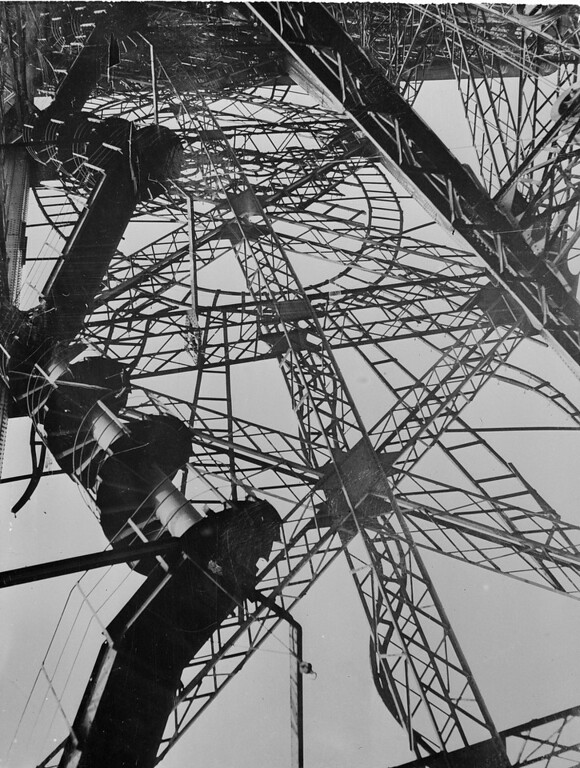 . The staircase of the Eiffel Tower which is still under construction is seen, 1887. Most visitors will use the elevator to get from the first floor to the second floor observatory. (AP Photo)
