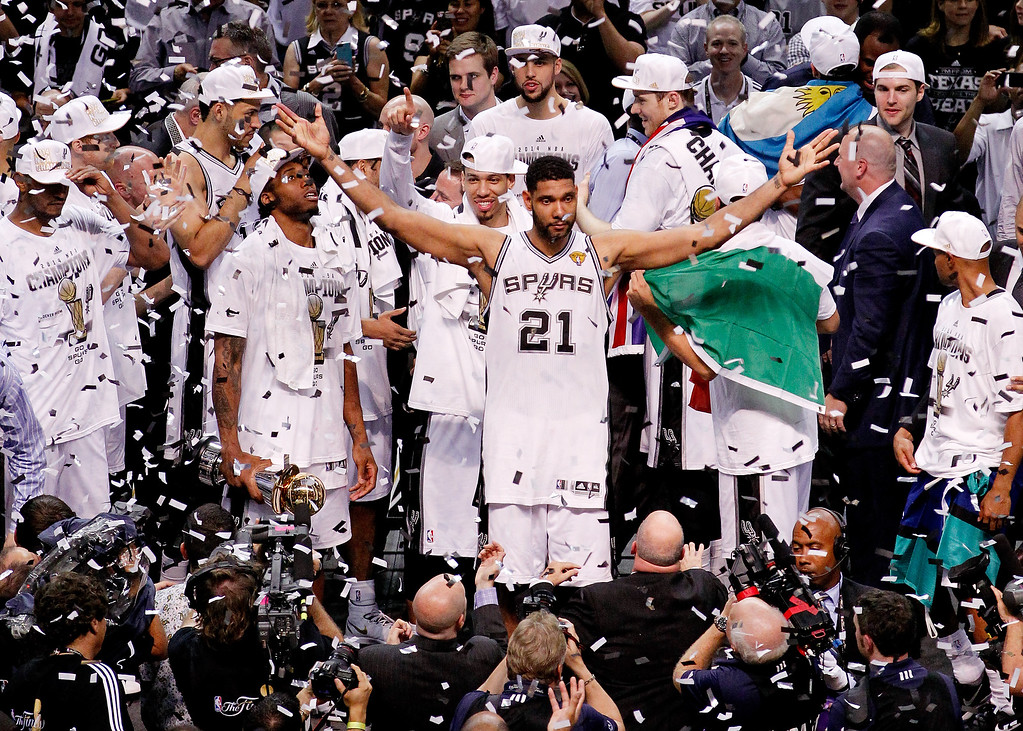 . Tim Duncan #21 of the San Antonio Spurs celebrates after defeating the Miami Heat in Game Five of the 2014 NBA Finals at the AT&T Center on June 15, 2014 in San Antonio, Texas.   (Photo by Chris Covatta/Getty Images)