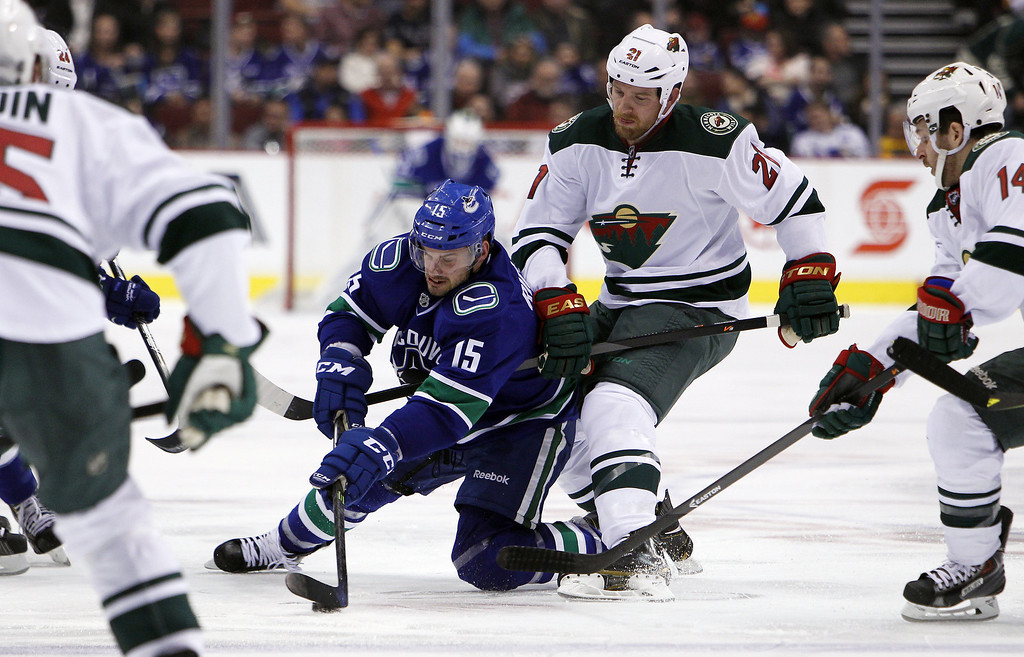 . Brad Richardson #15 of the Vancouver Canucks fights for the puck against Kyle Brodziak #21 of the Minnesota Wild during the second period of their NHL game at Rogers Arena on February 28, 2014 in Vancouver, British Columbia, Canada. (Photo by Ben Nelms/Getty Images)