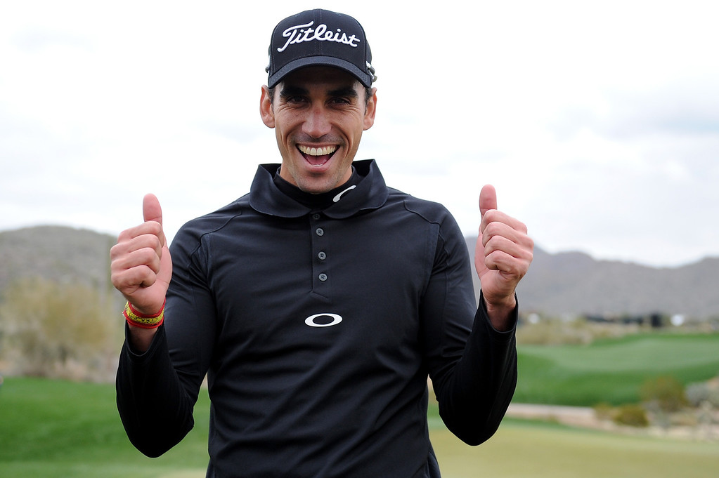 . MARANA, AZ - FEBRUARY 21:  Rafael Cabrera Bello of Spain celebrates after he won his match 1 up in 19 holes against Lee Westwood of England during the first round of the World Golf Championships - Accenture Match Play at the Golf Club at Dove Mountain on February 21, 2013 in Marana, Arizona. Round one play was suspended on February 20 due to inclimate weather and is scheduled to be continued today.  (Photo by Stuart Franklin/Getty Images)