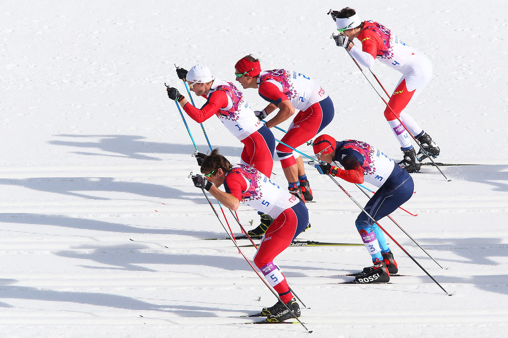 . Petter Northug Jr. of Norway, Alexander Legkov of Russia, Martin Johnsrud Sundby of Norway, Chris Andre Jespersen of Norway and Alex Harvey of Canada compete in the Men\'s 50 km Mass Start Free during day 16 of the Sochi 2014 Winter Olympics at Laura Cross-country Ski & Biathlon Center on February 23, 2014 in Sochi, Russia.  (Photo by Alexander Hassenstein/Getty Images)