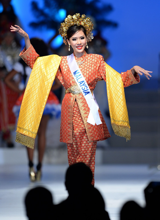 . Clad in national costume, Charissa Chong of Malaysia appears on stage during the 53rd Miss International Beauty Pageant in Tokyo on December 17, 2013.      TORU YAMANAKA/AFP/Getty Images