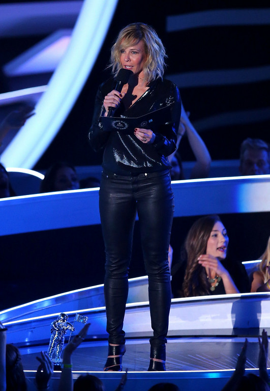 . TV personality Chelsea Handler speaks onstage during the 2014 MTV Video Music Awards at The Forum on August 24, 2014 in Inglewood, California.  (Photo by Mark Davis/Getty Images)