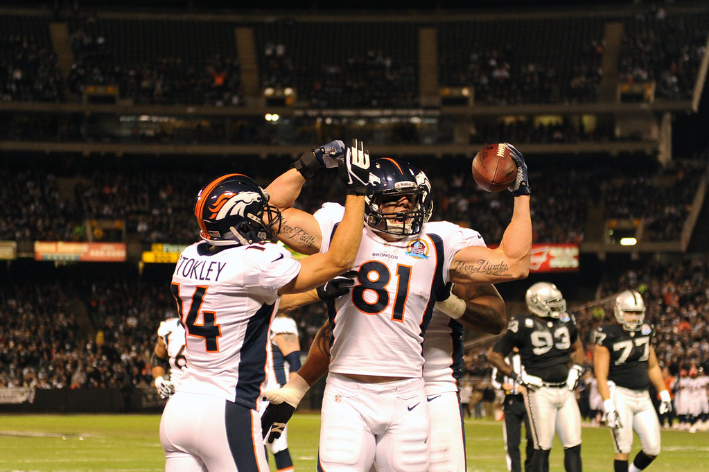 . Denver Broncos tight end Joel Dreessen #81 celebrates his first quarter score in the game between the Denver Broncos and the Oakland Raiders at the O.co Coliseum, in Oakland , CA December 06, 2012.      Joe Amon, The Denver Post