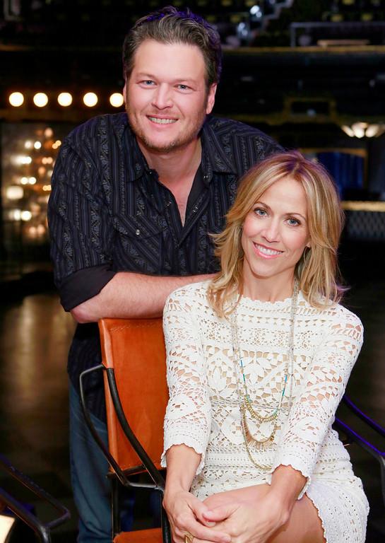 """. THE VOICE -- \""""Blake Reality\"""" -- Pictured: (l-r) Blake Shelton, Sheryl Crow -- (Photo by: Trae Patton/NBC)"""